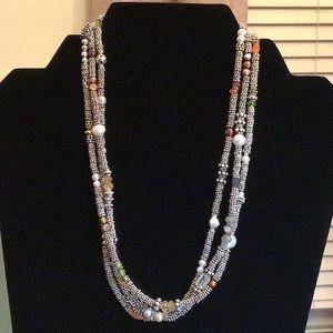 Jewelry - 💗3 Strand Sterling & Semi-precious Necklace